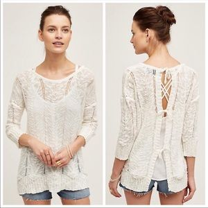 Anthro Knitted & Knotted Adelina Tie Back Sweater